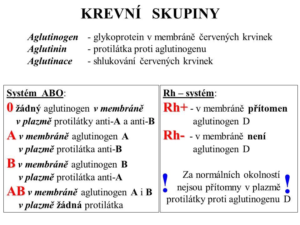 ! ! KREVNÍ SKUPINY 0 žádný aglutinogen v membráně