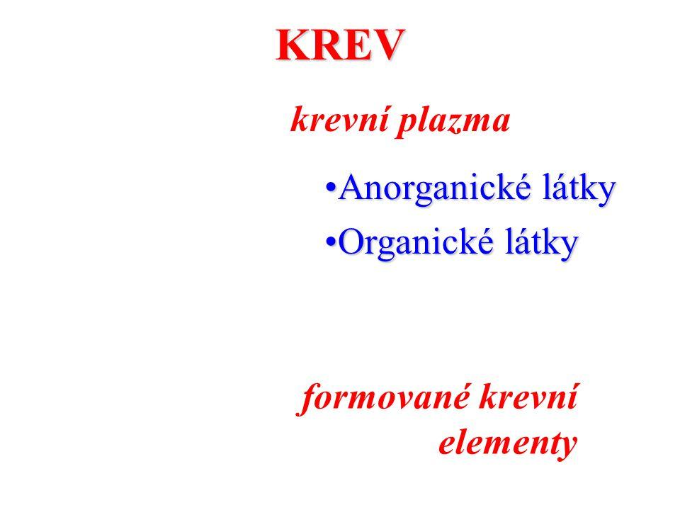 KREV krevní plazma Anorganické látky Organické látky