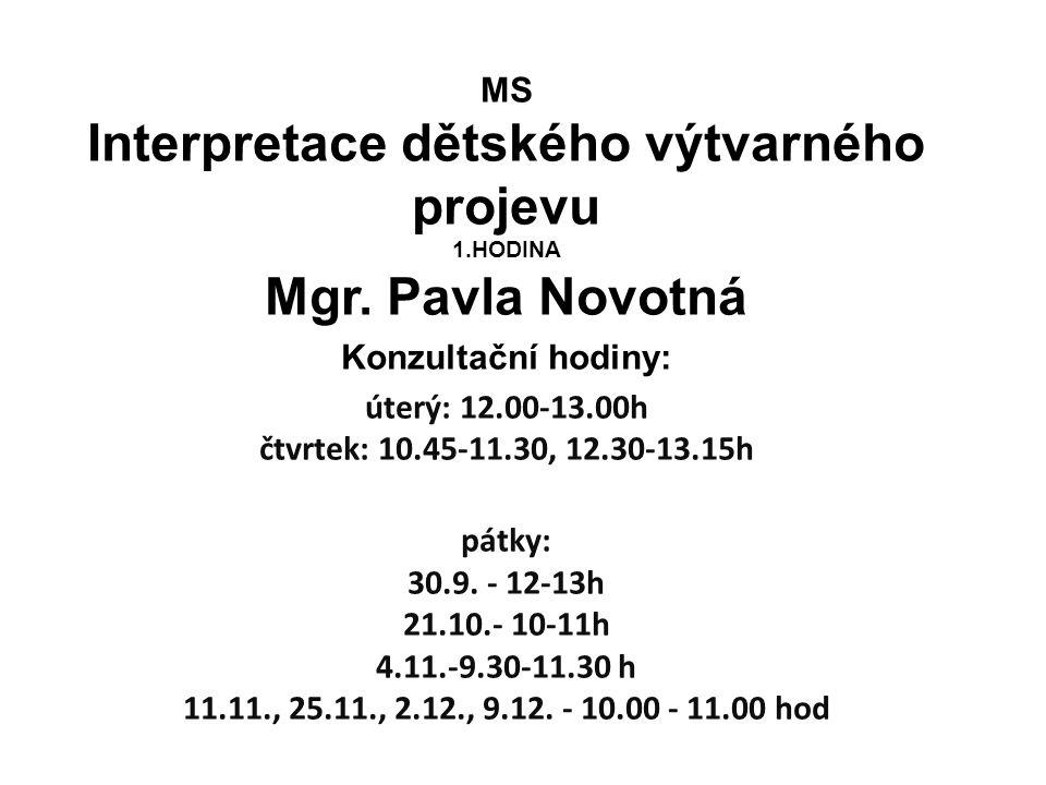 Interpretace dětského výtvarného projevu 1.HODINA Mgr. Pavla Novotná