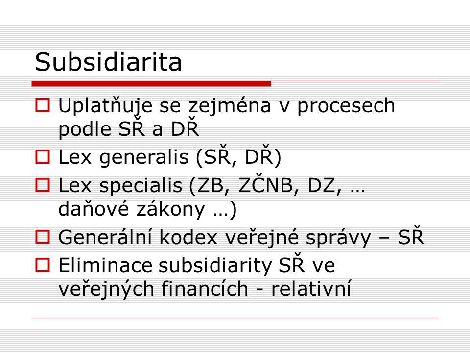 Subsidiarita Uplatňuje se zejména v procesech podle SŘ a DŘ