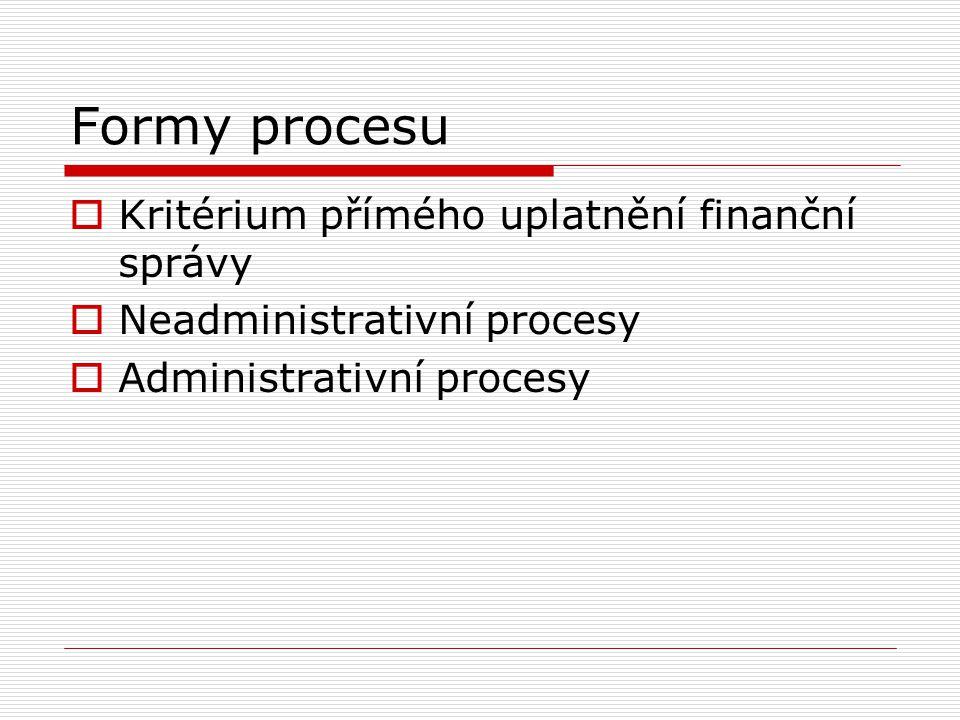Formy procesu Kritérium přímého uplatnění finanční správy