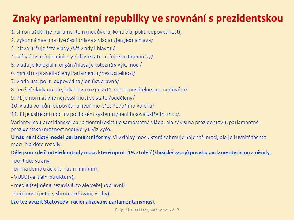 Znaky parlamentní republiky ve srovnání s prezidentskou