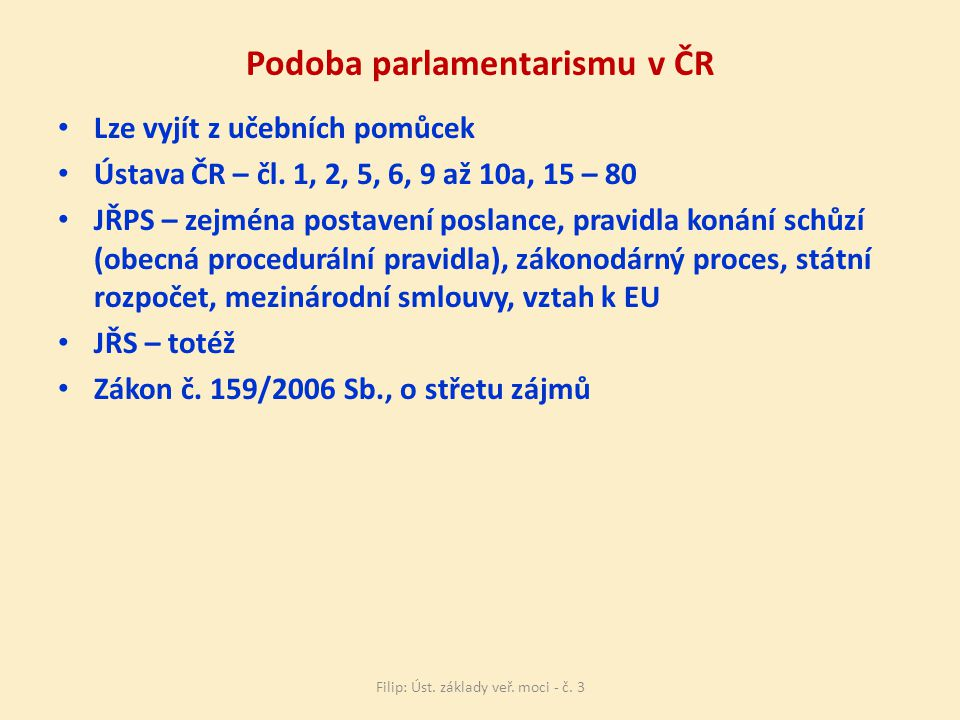 Podoba parlamentarismu v ČR