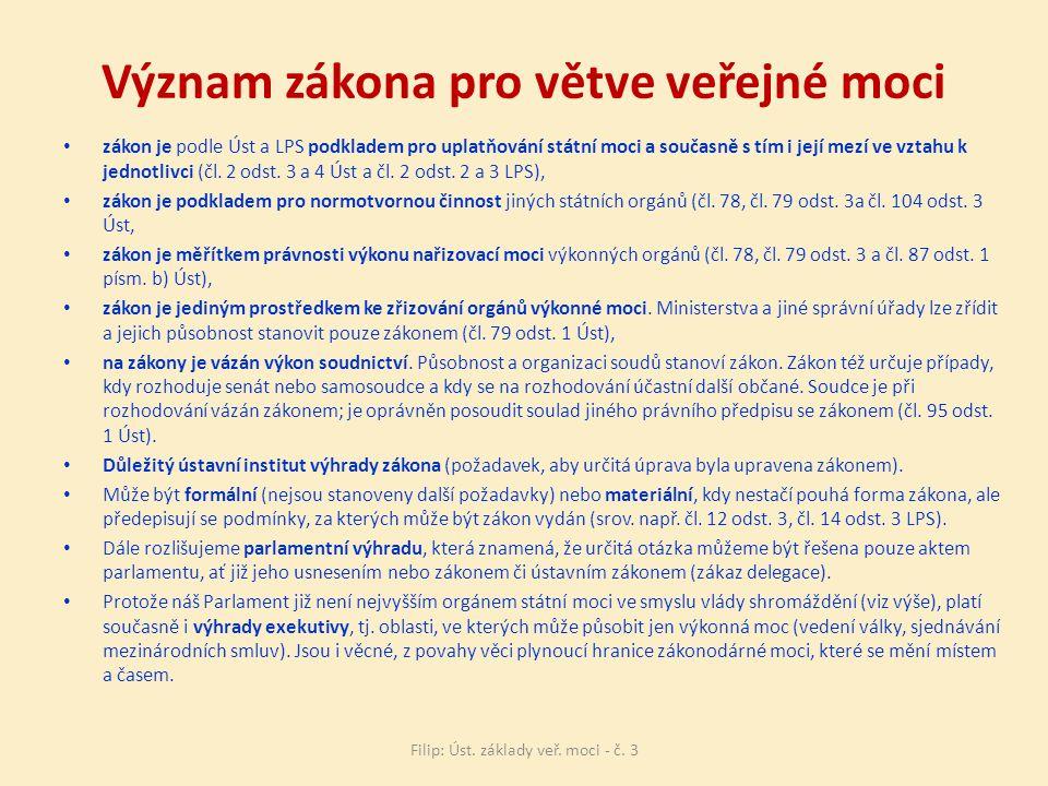 Význam zákona pro větve veřejné moci