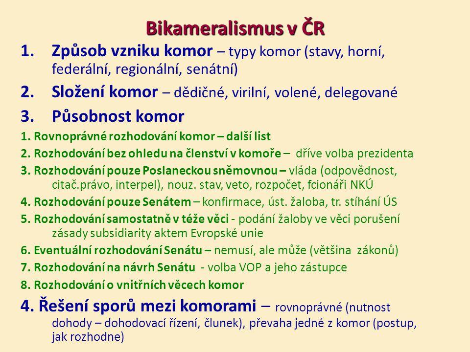 Bikameralismus v ČR Způsob vzniku komor – typy komor (stavy, horní, federální, regionální, senátní)