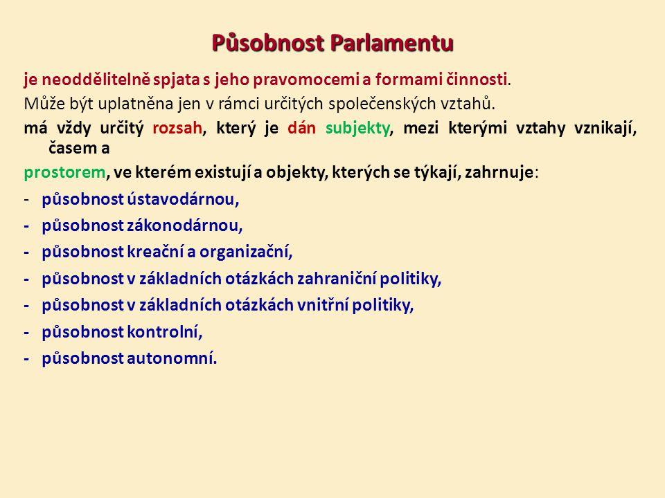 Působnost Parlamentu je neoddělitelně spjata s jeho pravomocemi a formami činnosti. Může být uplatněna jen v rámci určitých společenských vztahů.