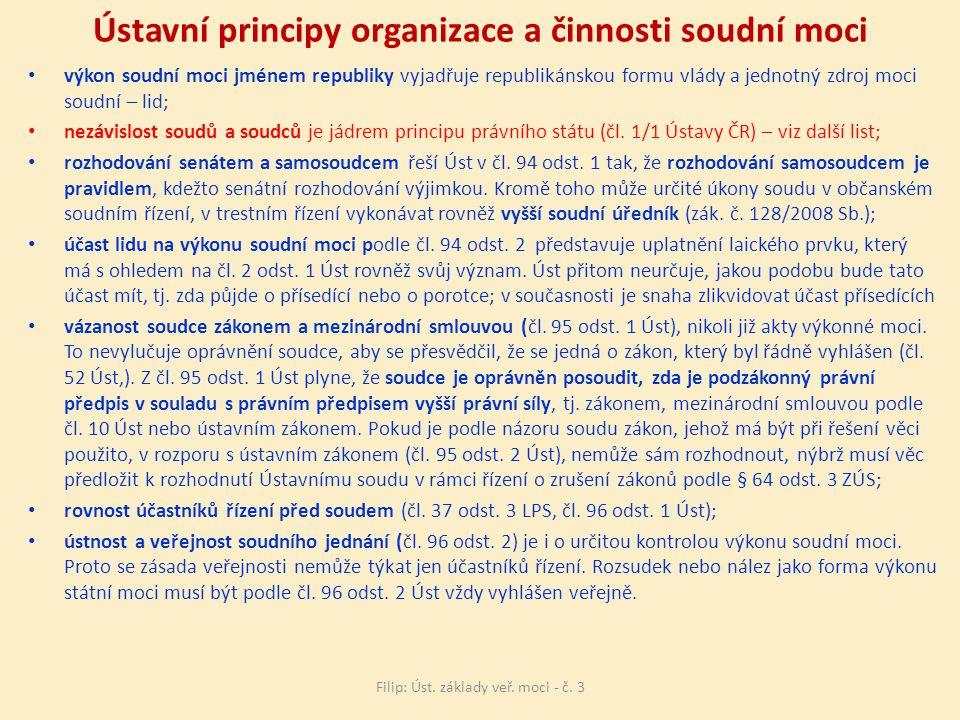 Ústavní principy organizace a činnosti soudní moci