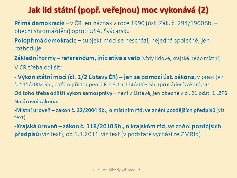 Jak lid státní (popř. veřejnou) moc vykonává (2)