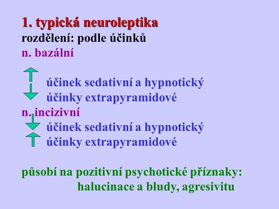 1. typická neuroleptika rozdělení: podle účinků n. bazální