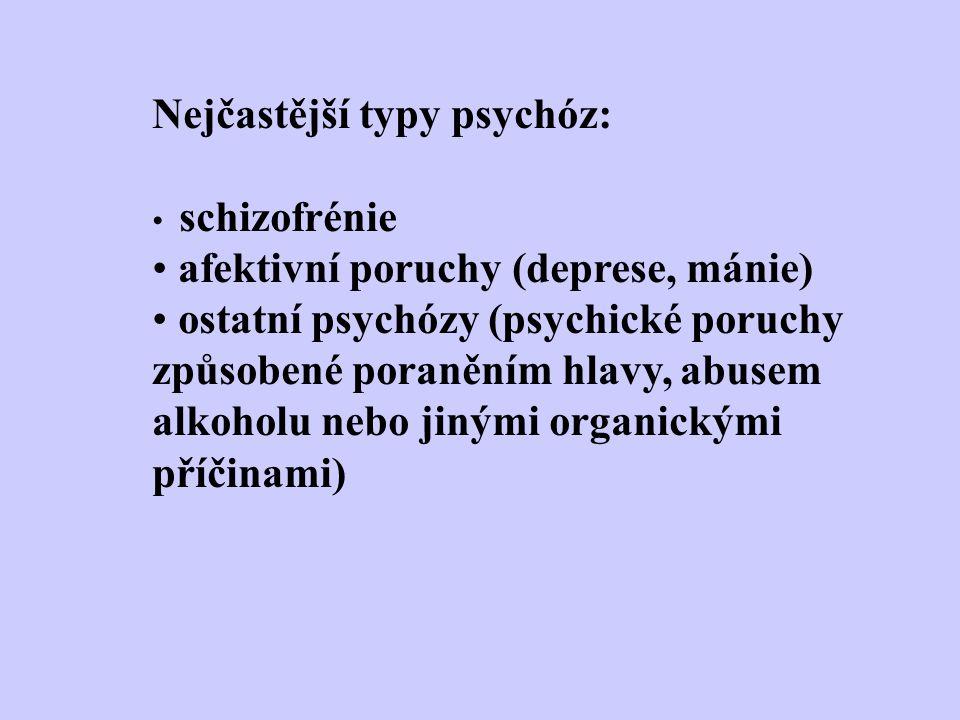 Nejčastější typy psychóz: