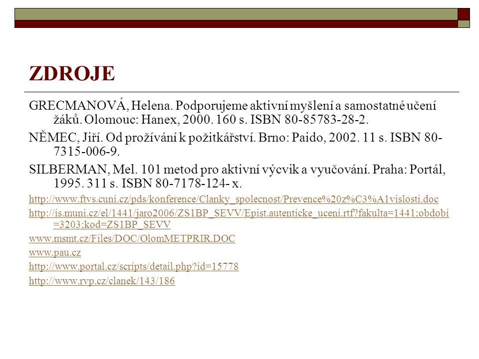 ZDROJE GRECMANOVÁ, Helena. Podporujeme aktivní myšlení a samostatné učení žáků. Olomouc: Hanex, 2000. 160 s. ISBN 80-85783-28-2.