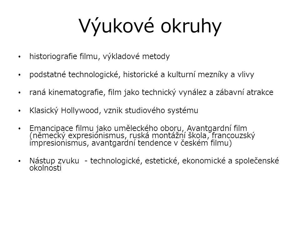 Výukové okruhy historiografie filmu, výkladové metody