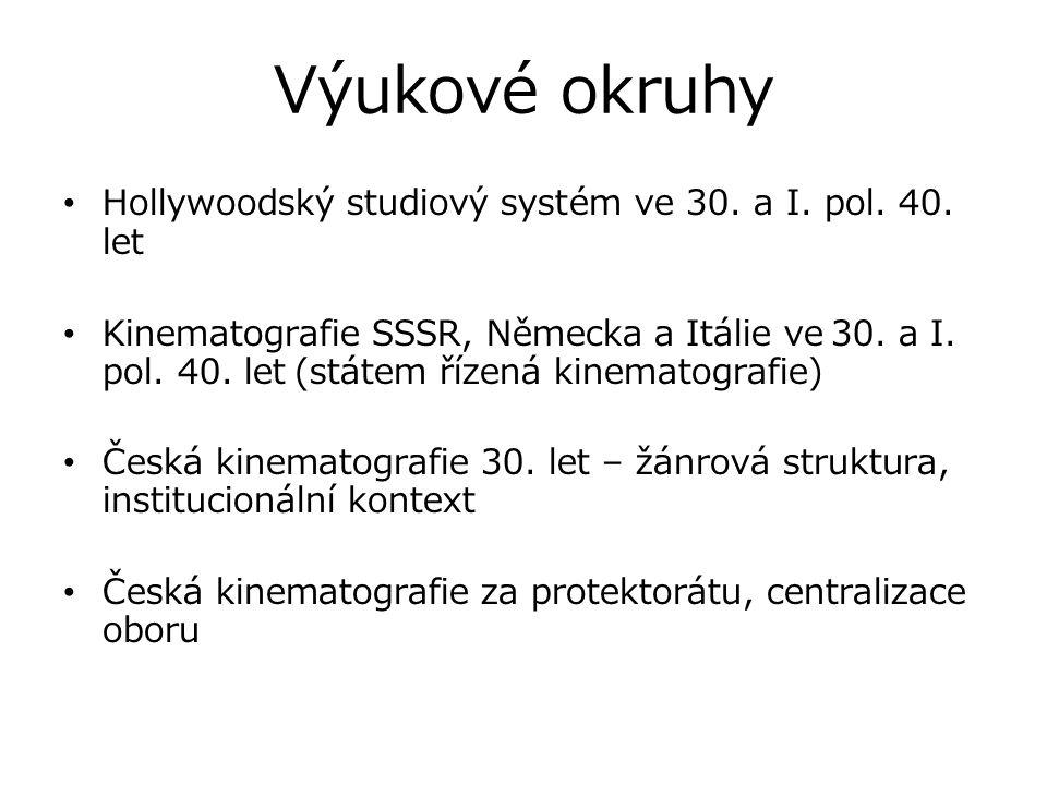 Výukové okruhy Hollywoodský studiový systém ve 30. a I. pol. 40. let