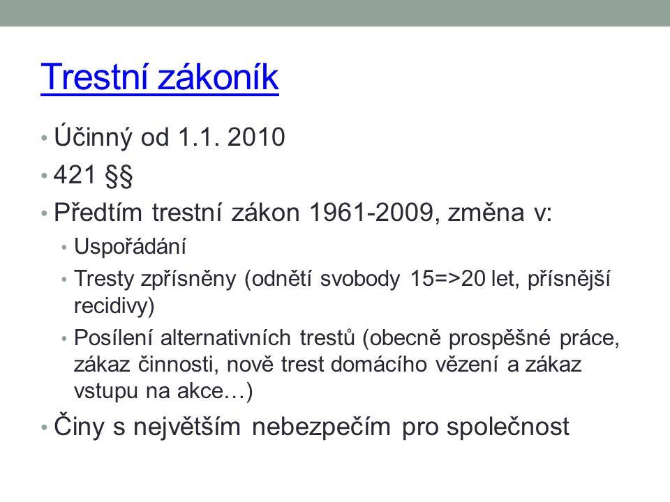 Trestní zákoník Účinný od 1.1. 2010 421 §§