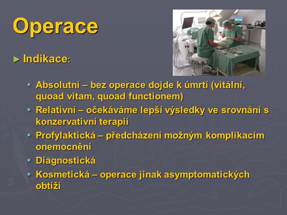 Operace Indikace: Absolutní – bez operace dojde k úmrtí (vitální, quoad vitam, quoad functionem)