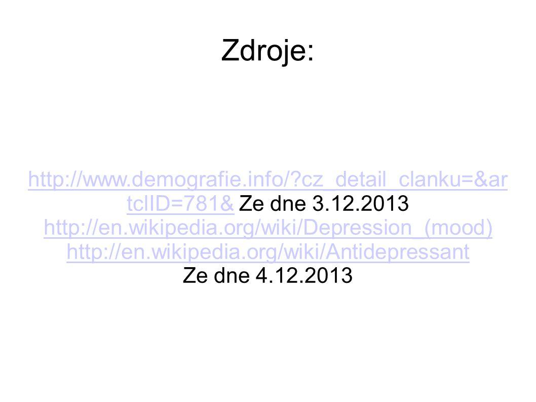 Zdroje: http://www.demografie.info/ cz_detail_clanku=&artclID=781& Ze dne 3.12.2013. http://en.wikipedia.org/wiki/Depression_(mood)