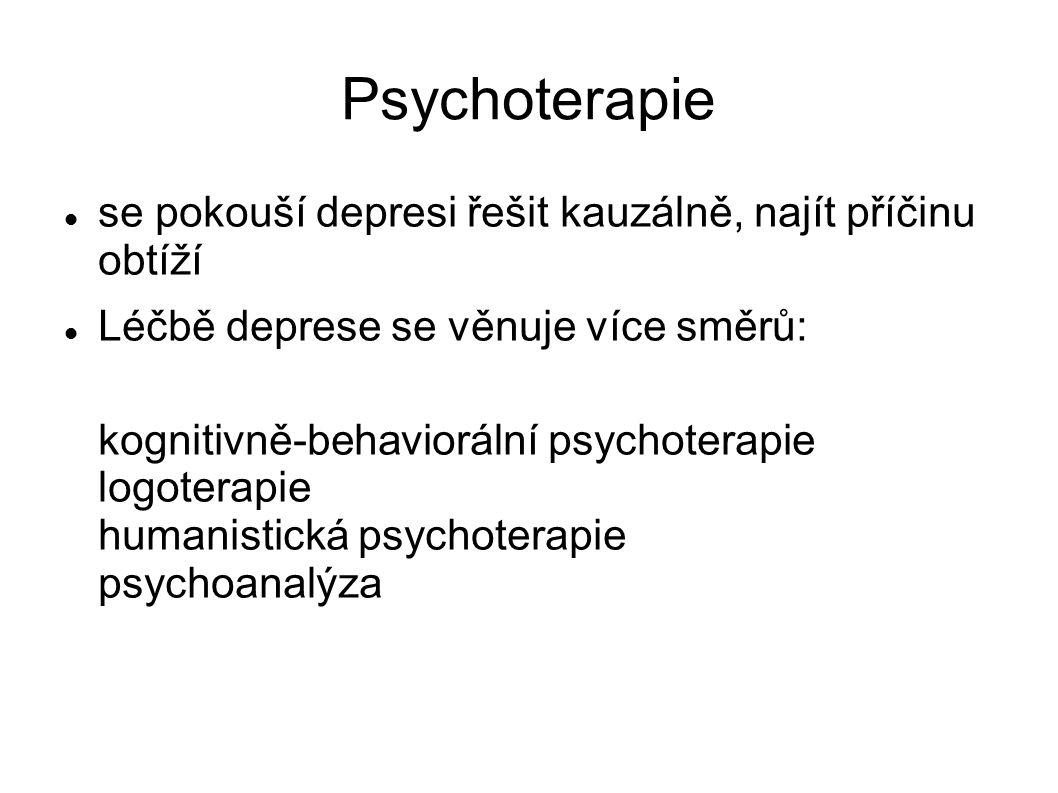 Psychoterapie se pokouší depresi řešit kauzálně, najít příčinu obtíží