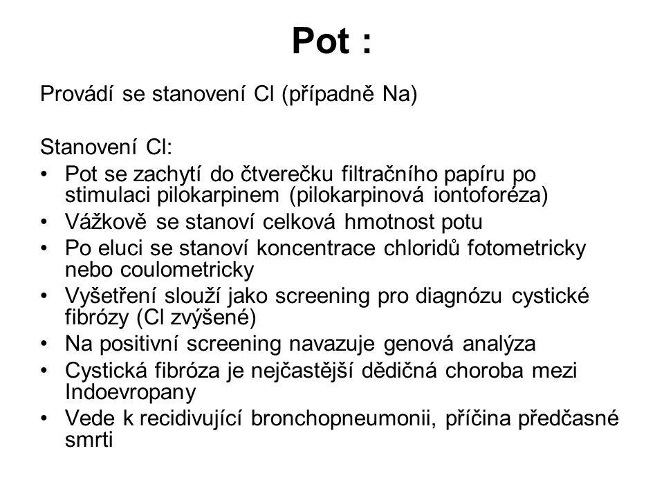 Pot : Provádí se stanovení Cl (případně Na) Stanovení Cl: