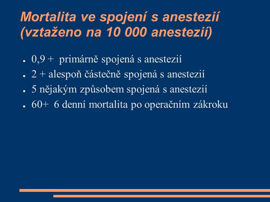 Mortalita ve spojení s anestezií (vztaženo na 10 000 anestezií)