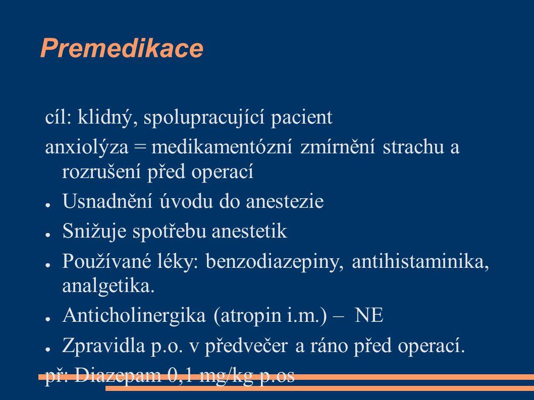 Premedikace cíl: klidný, spolupracující pacient