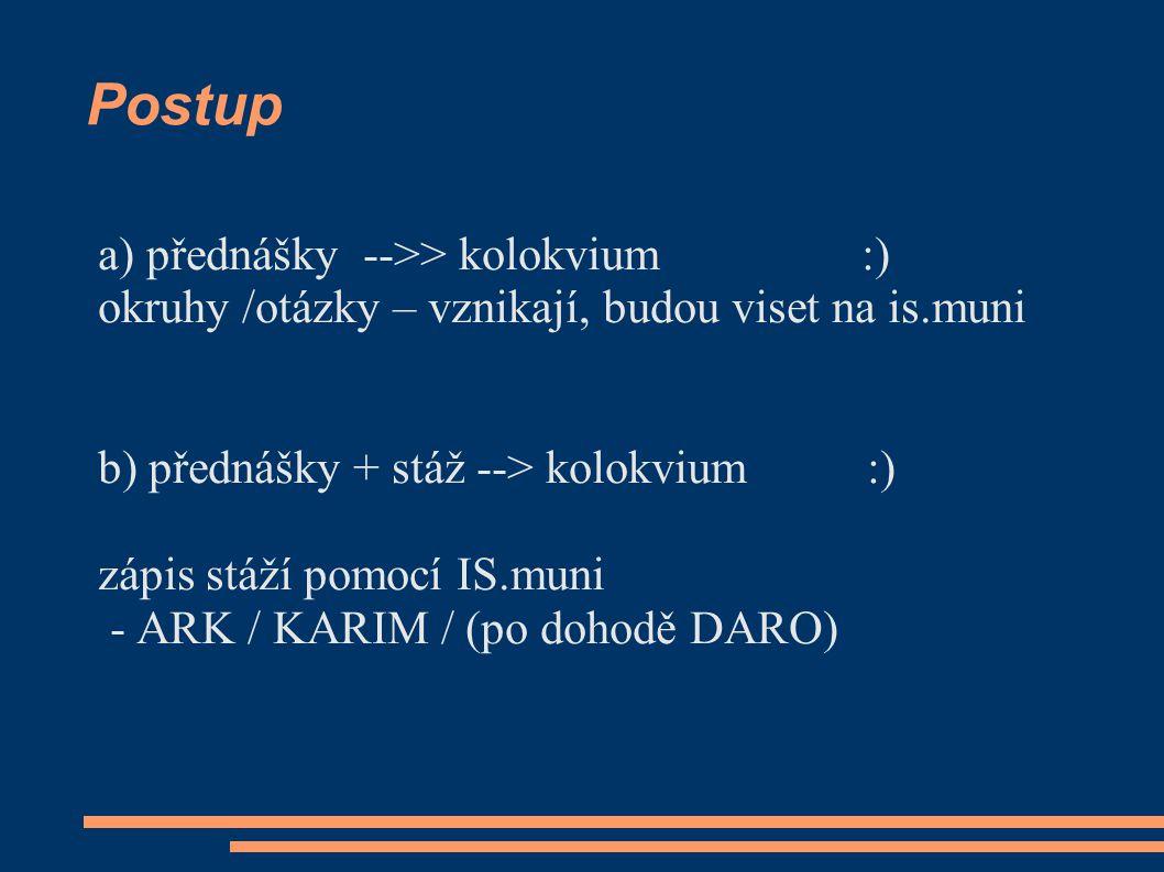 Postup a) přednášky -->> kolokvium :)