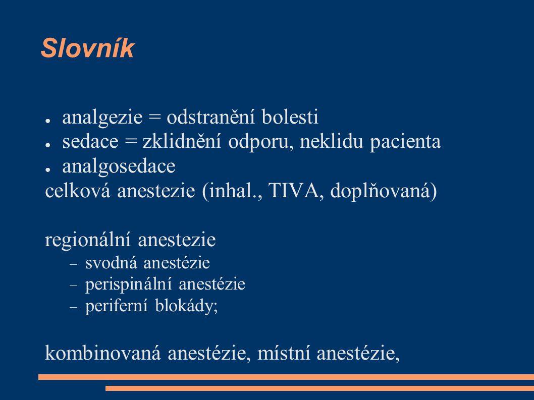 Slovník analgezie = odstranění bolesti
