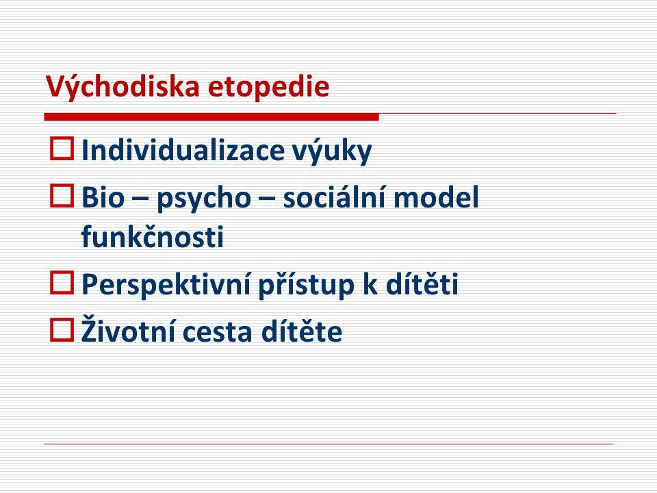 Východiska etopedie Individualizace výuky. Bio – psycho – sociální model funkčnosti. Perspektivní přístup k dítěti.