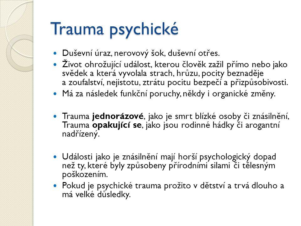Trauma psychické Duševní úraz, nerovový šok, duševní otřes.