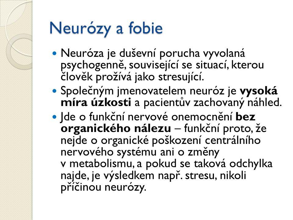 Neurózy a fobie Neuróza je duševní porucha vyvolaná psychogenně, související se situací, kterou člověk prožívá jako stresující.