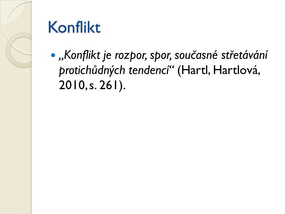 """Konflikt """"Konflikt je rozpor, spor, současné střetávání protichůdných tendencí (Hartl, Hartlová, 2010, s."""