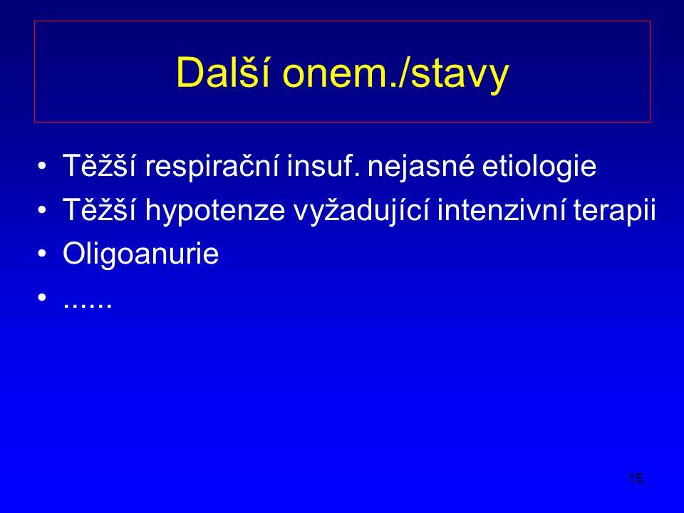 Další onem./stavy Těžší respirační insuf. nejasné etiologie