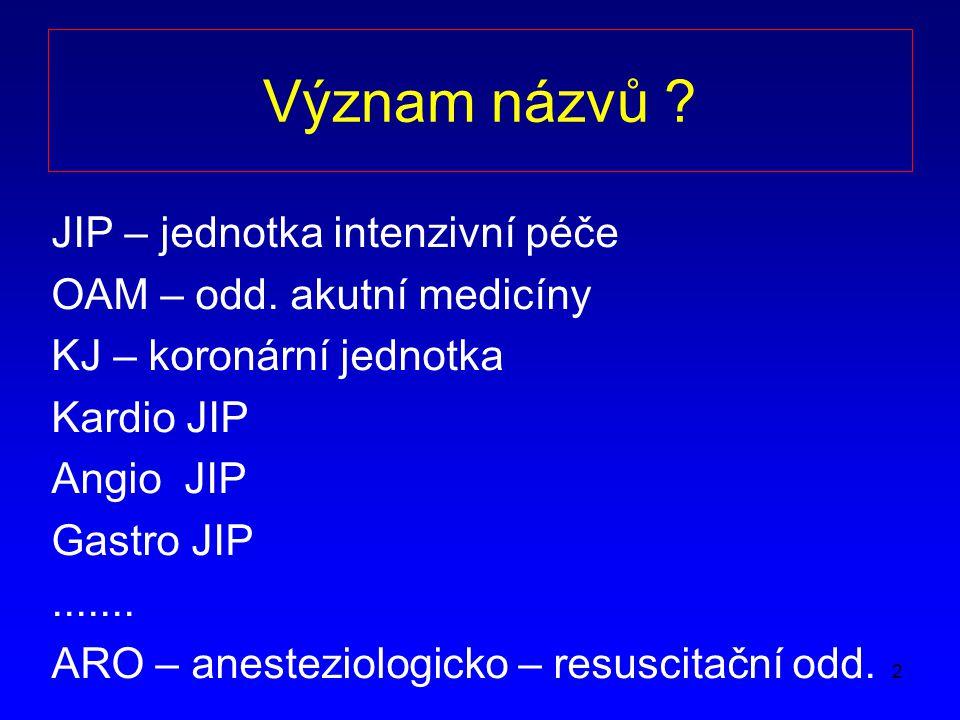 Význam názvů JIP – jednotka intenzivní péče