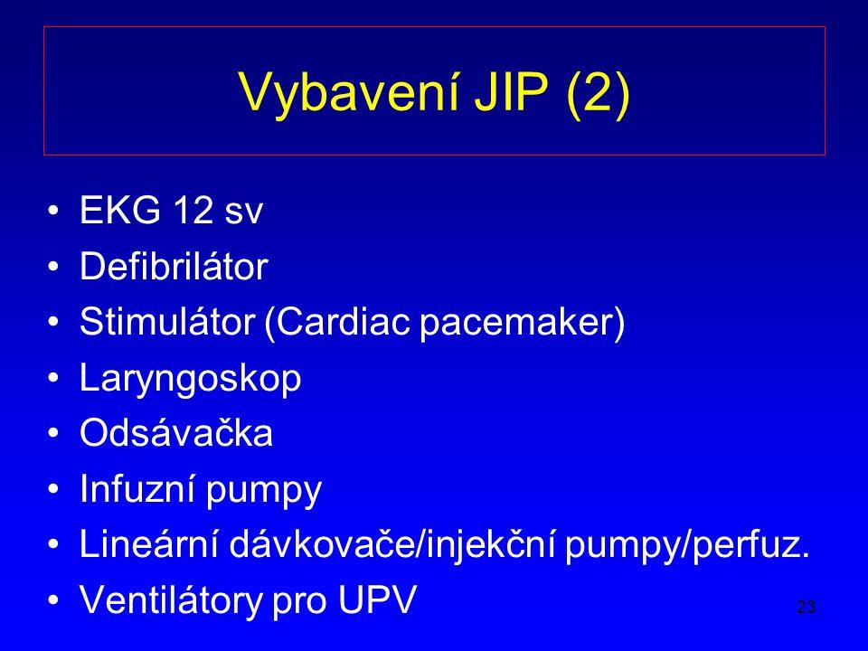 Vybavení JIP (2) EKG 12 sv Defibrilátor Stimulátor (Cardiac pacemaker)