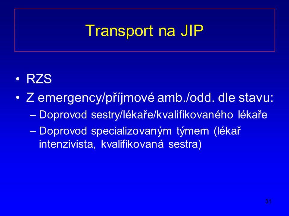 Transport na JIP RZS Z emergency/příjmové amb./odd. dle stavu: