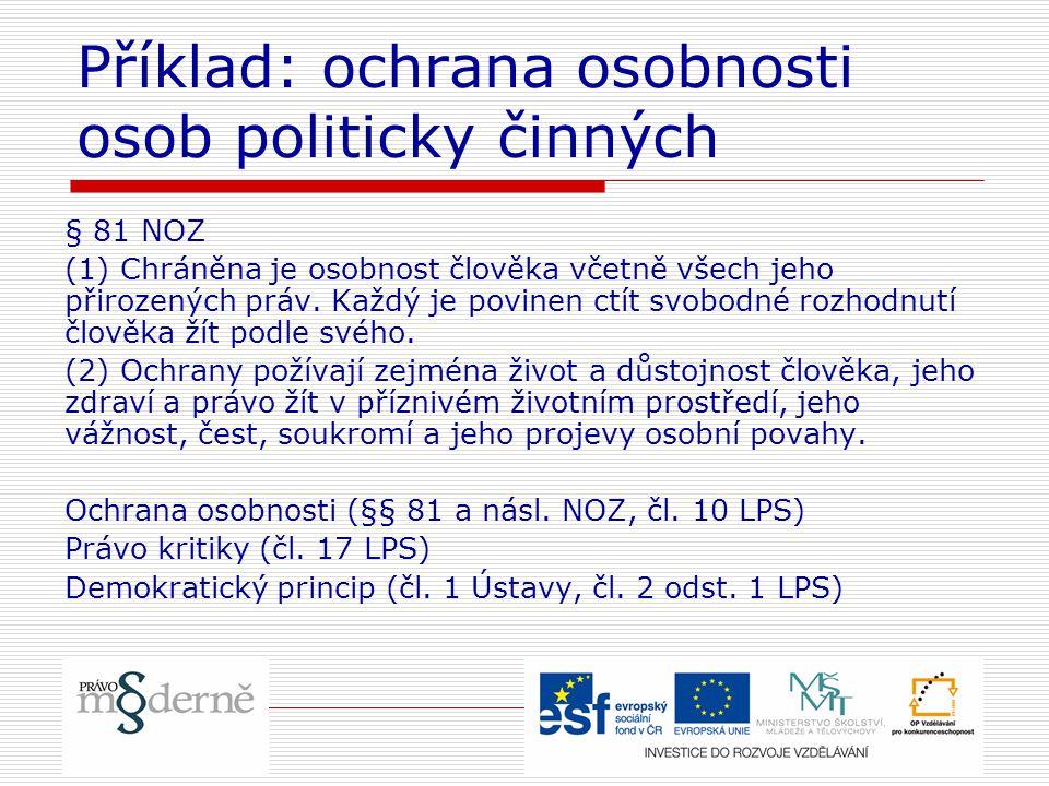 Příklad: ochrana osobnosti osob politicky činných