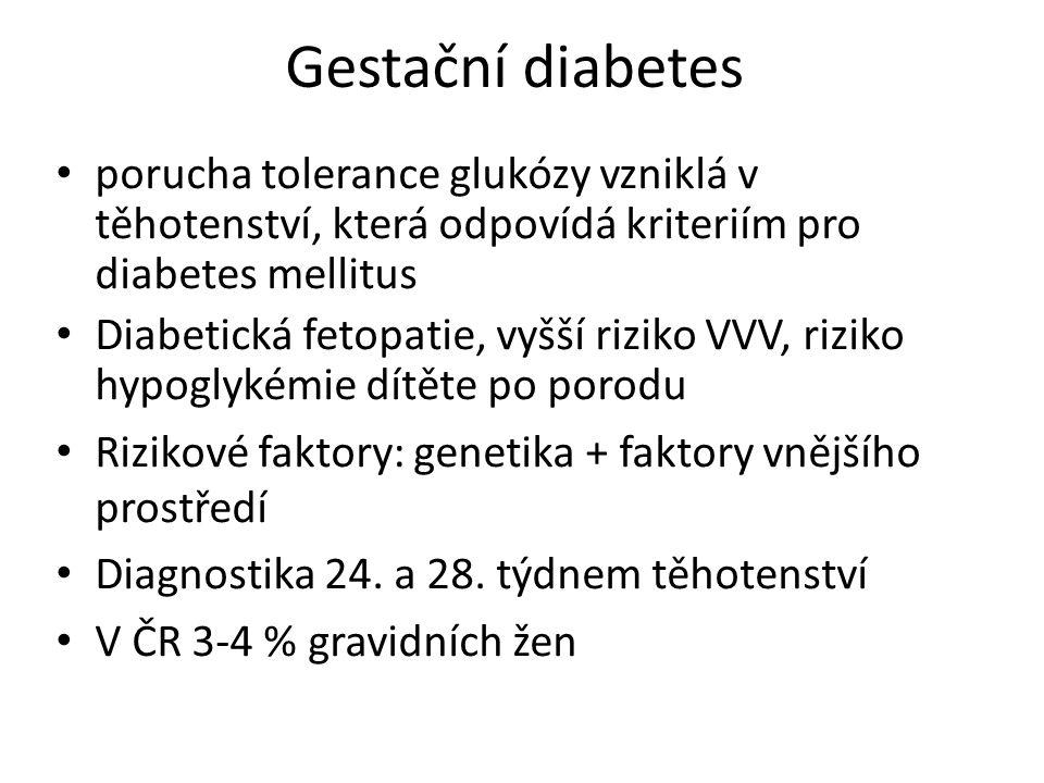 Gestační diabetes porucha tolerance glukózy vzniklá v těhotenství, která odpovídá kriteriím pro diabetes mellitus.