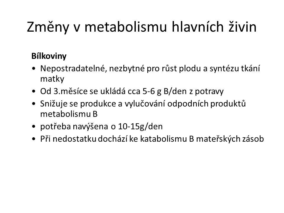 Změny v metabolismu hlavních živin