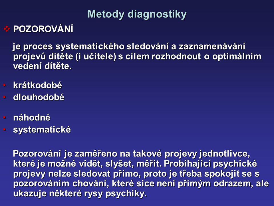 Metody diagnostiky POZOROVÁNÍ