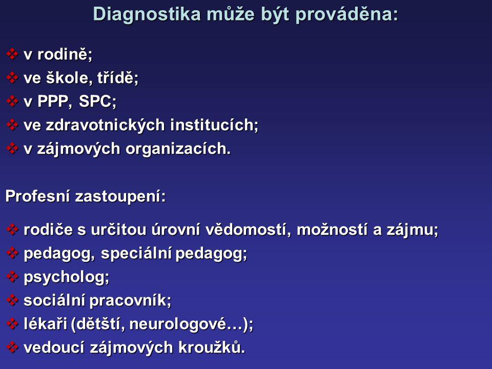 Diagnostika může být prováděna: