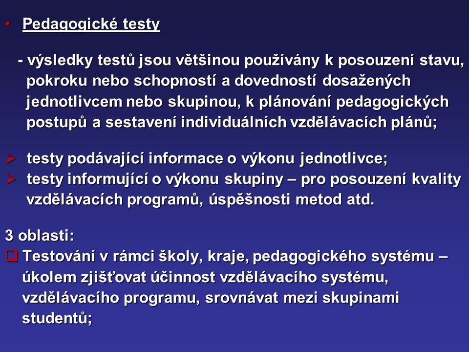 Pedagogické testy - výsledky testů jsou většinou používány k posouzení stavu, pokroku nebo schopností a dovedností dosažených.