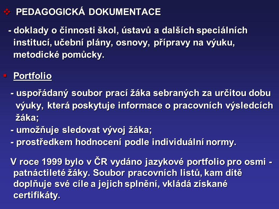 PEDAGOGICKÁ DOKUMENTACE