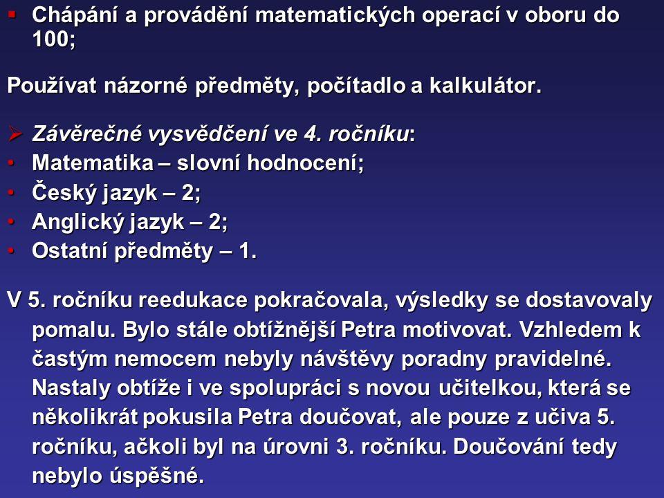 Chápání a provádění matematických operací v oboru do 100;
