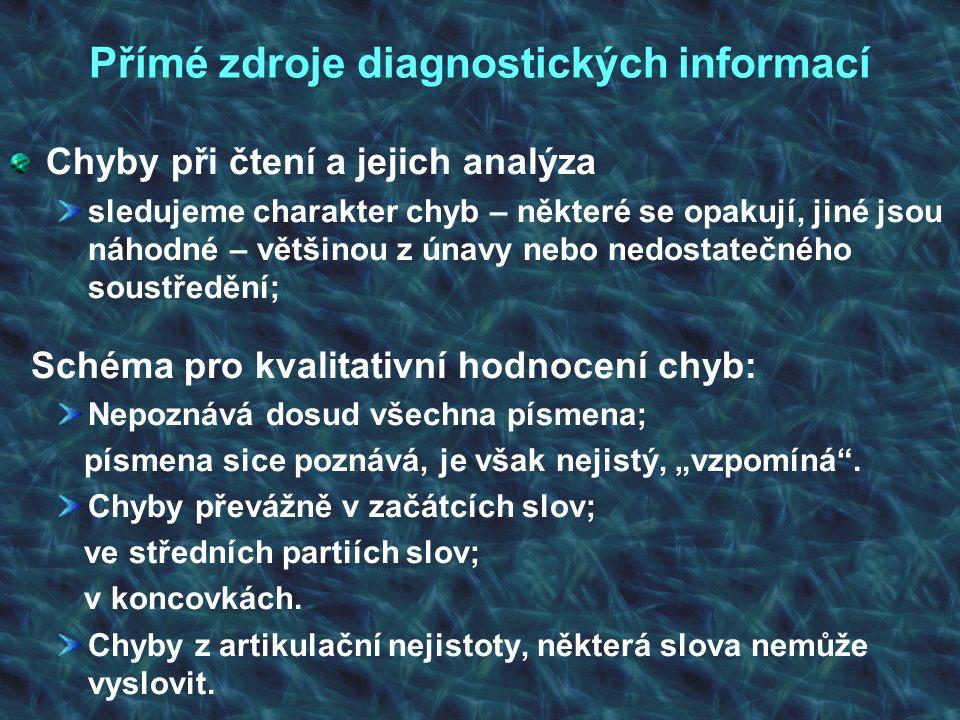 Přímé zdroje diagnostických informací