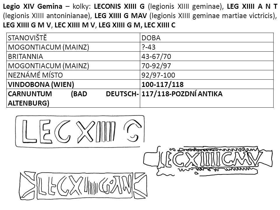 Legio XIV Gemina – kolky: LECONIS XIIII G (legionis XIIII geminae), LEG XIIII A N T (legionis XIIII antoninianae), LEG XIIII G MAV (legionis XIIII geminae martiae victricis), LEG XIIII G M V, LEC XIIII M V, LEG XIIII G M, LEC XIIII C