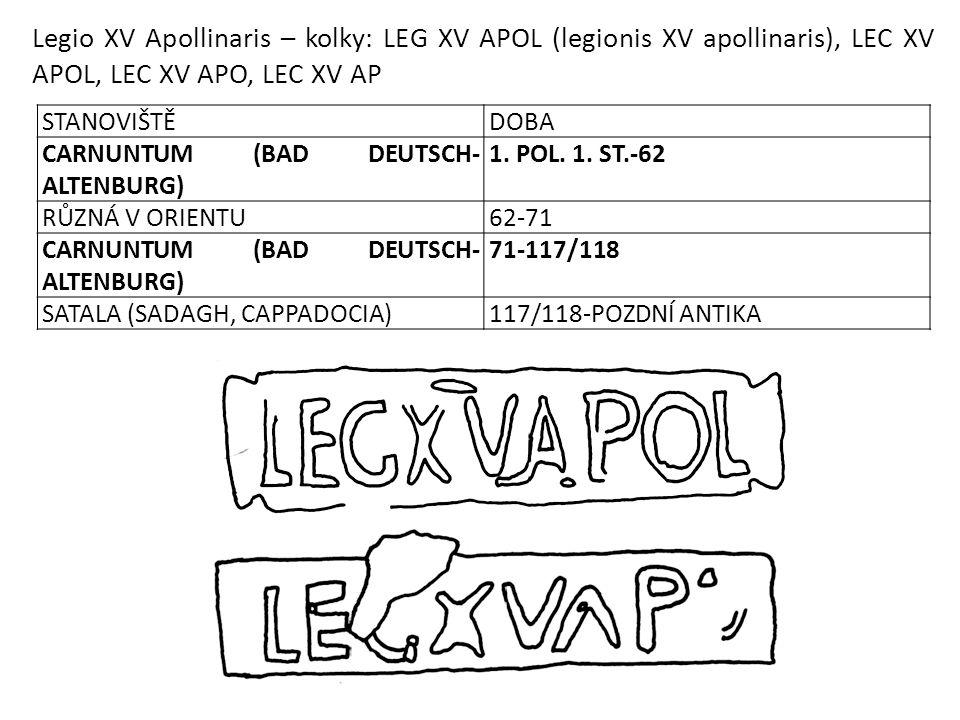 Legio XV Apollinaris – kolky: LEG XV APOL (legionis XV apollinaris), LEC XV APOL, LEC XV APO, LEC XV AP