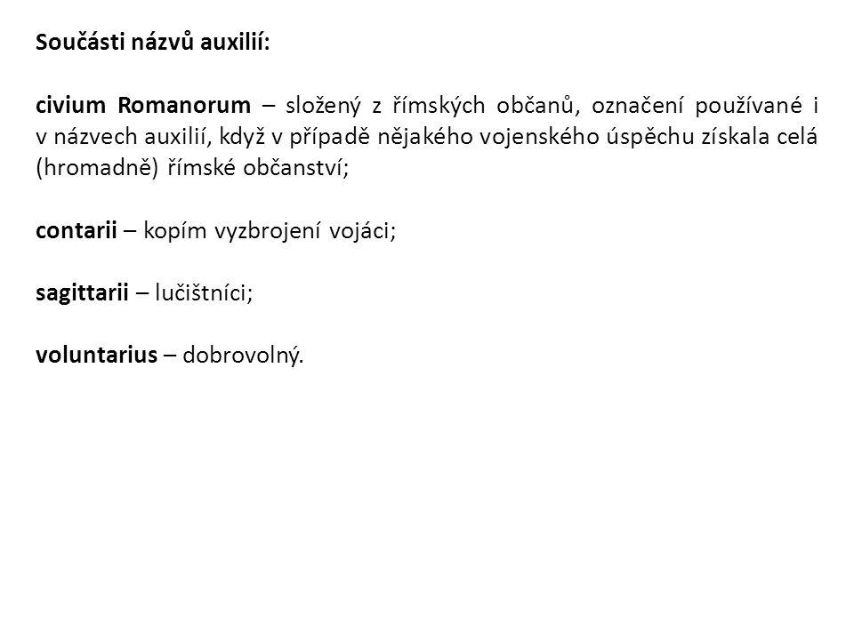 Součásti názvů auxilií: