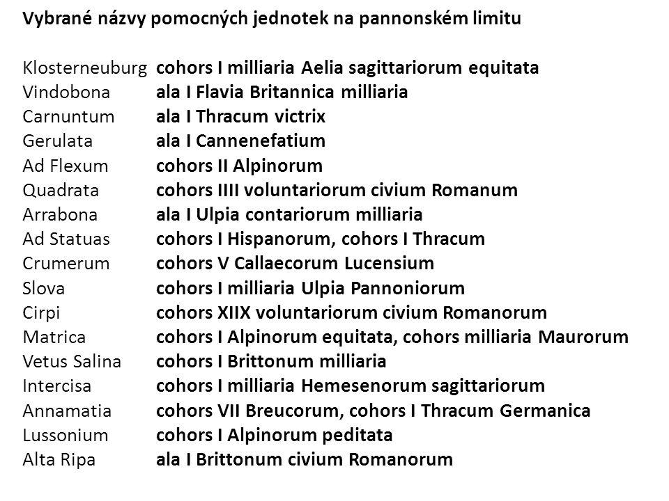 Vybrané názvy pomocných jednotek na pannonském limitu
