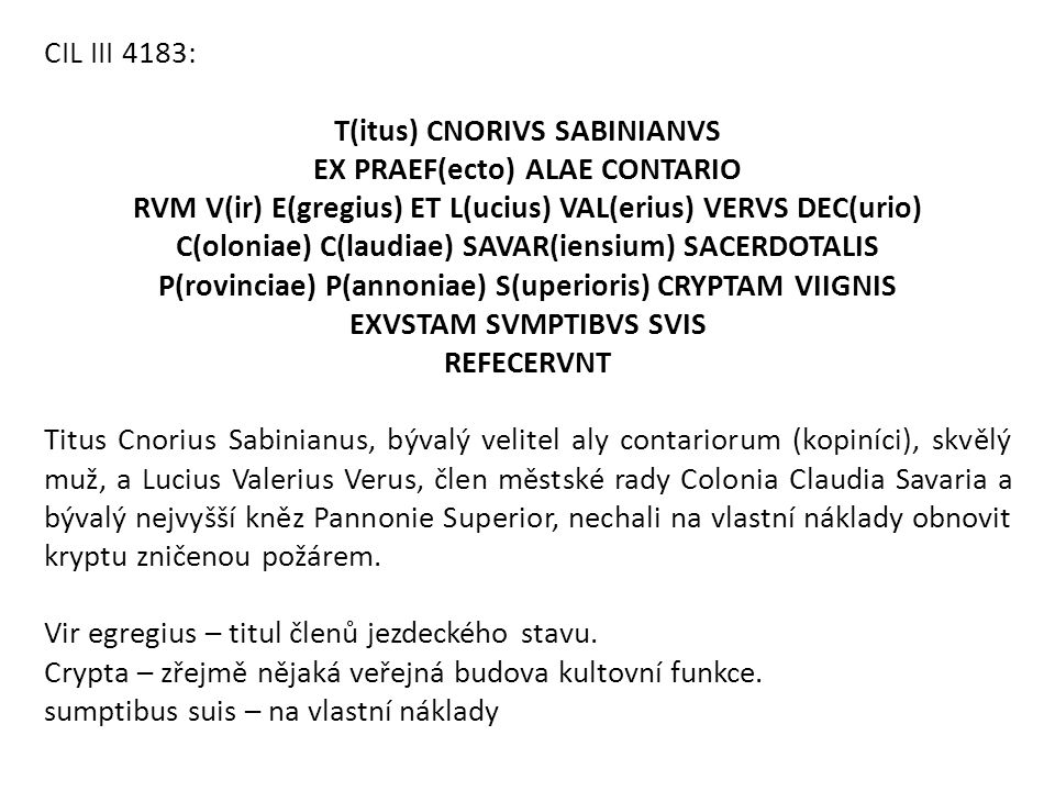 T(itus) CNORIVS SABINIANVS EX PRAEF(ecto) ALAE CONTARIO