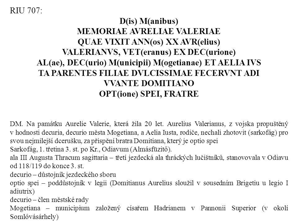 MEMORIAE AVRELIAE VALERIAE QUAE VIXIT ANN(os) XX AVR(elius)