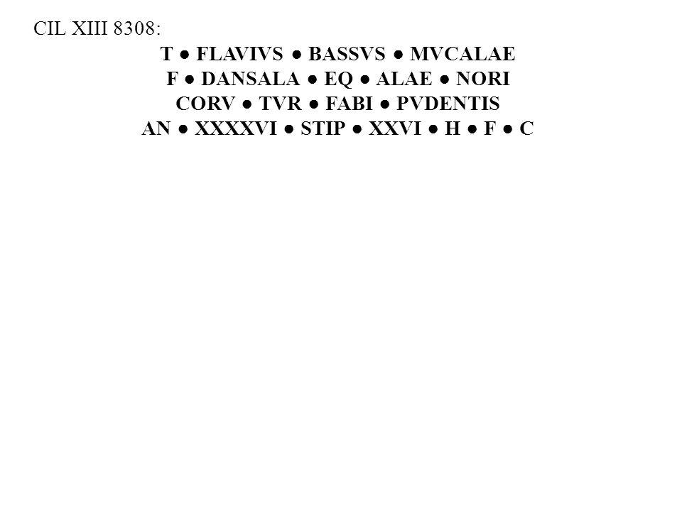T ● FLAVIVS ● BASSVS ● MVCALAE F ● DANSALA ● EQ ● ALAE ● NORI